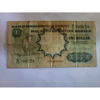 1dollar 1959 malaya kapal notes vfine
