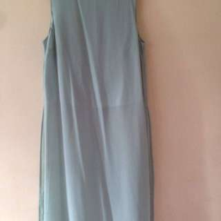 Bikbok turquoise blue long slit top