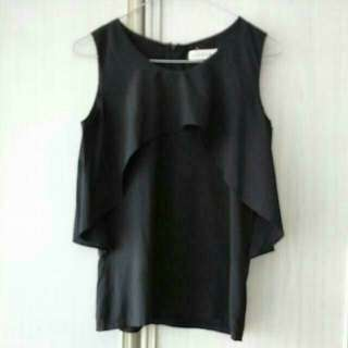 Black Frilled Sleeveless Top Tagged S