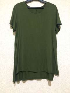 Army green long blouse w/ side slit
