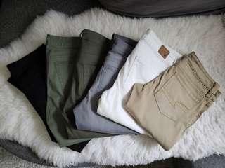 6 x BANANA REPUBLIC, AMERICAN EAGLE OUTFITTERS, UNIQLO pants