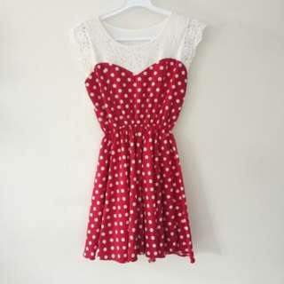 Polkadot red dress