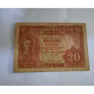 20cent 1941 malaya notes vfine