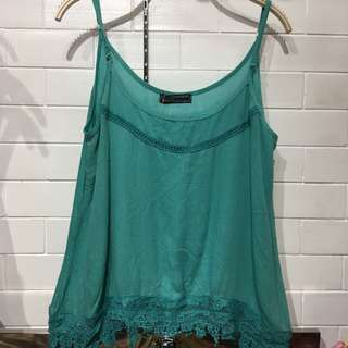 (BRAND NEW) Teal crochet trim top