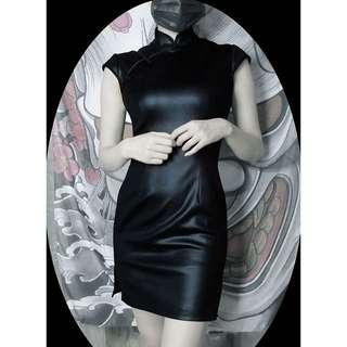 【黑店】原創設計 中國風 訂製款暗黑系個性款皮革短袖開衩合身顯瘦短旗袍