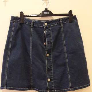 A line button up denim skirt