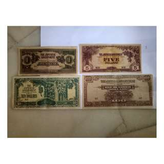 1,5,10,100 dollar japaneses occupation malaya notes vfine