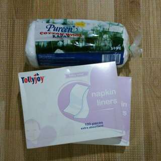 Tollyjoy napkin liners & Puree cotton wool