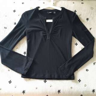Mango MNG Black Long Sleeve Blouse Top Shirt