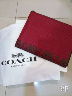 Coach Americana Print Red Clucth
