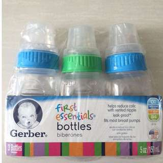 BN Gerber First Essentials Bottles 0m+ 3 bottles 150ml/5oz (BRAND NEW)