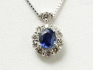蓝宝石钻石铂金项链