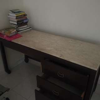 Marble Study Desk with 3 drawers