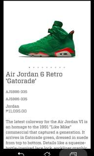 ORIG AIR JORAN RETRO 6 (GATORADE)