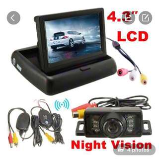 Brand New Car Reverse / Back Up / Rear Camera - Retractable LCD (Complete Set with Wireless Transmit & Receive Antennas)