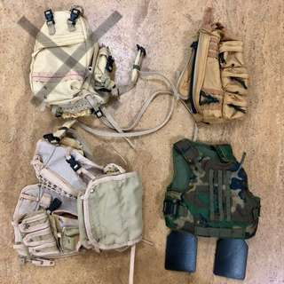 1/6 Vests and bags - $5 each
