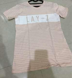 Cotton On LAY-Z Garis Stripe Pink White Putih T-Shirt Tee Atasan