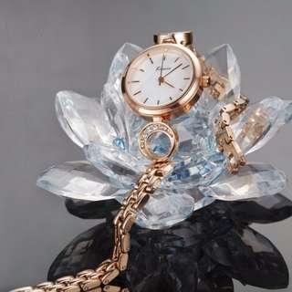 ORIGINAL HK KIMIO ladies watch stainless bracelet 1yr warranty K6208S-GD1WWW big jade design