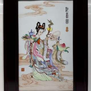 「獻壽圖」瓷畫