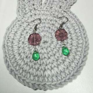 Handmade purple flower earrings