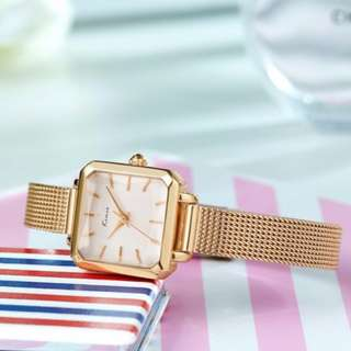 ORIGINAL HK KIMIO ladies watch BRAID bracelet waterresist 1yr warranty K6236S SQUARE DESIGN