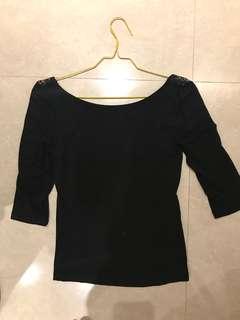 Zara Black Lace 3/4 Sleeves Top