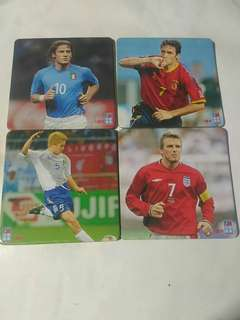 包郵 199x年 蘋果日報 印製 歐洲足球名星 卡 4張