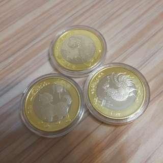 全新 中國2輪生肖幣(猴雞狗3隻) 1起售 送小圓盒