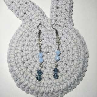Handmade blue drop earrings