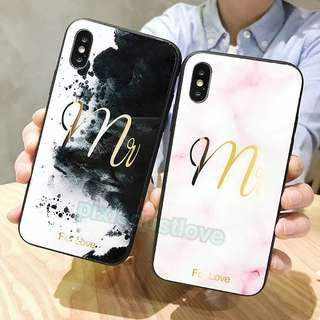 mr and mrs tempered glass couple phone casing