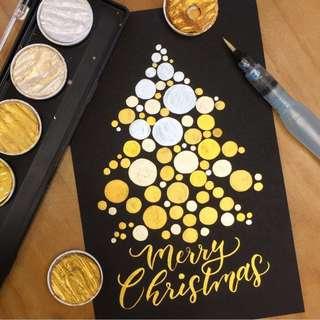 英文書法Calligraphy全新Fine Tec德國製金色系gold palette(免費送黑色硬身紙及水彩畫卡)