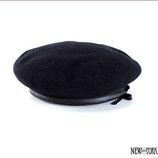 New York HAT 羊毛皮邊貝雷帽