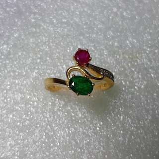 18kgold emerald & ruby ring