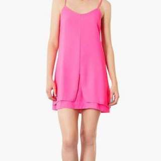 Topshop Petite - Mini Strappy Shift Dress - Hot Pink - Size 10