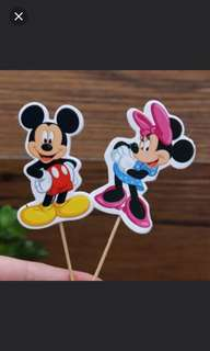 Mickey and Minnie Cake/Cupcake/Muffin Toppers for Party Decoration