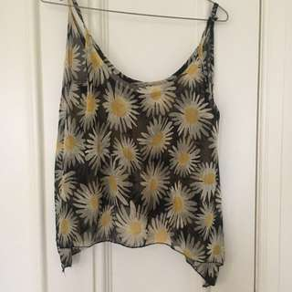 Brandy Melville Daisy Print Sheer Crop - One Size Fits All
