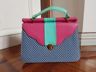 Pastel polka dot shoulder bag ( 3 compartments)