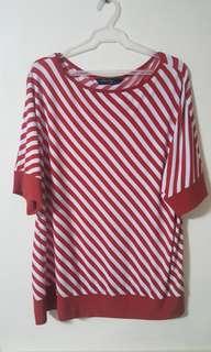 Plus Size red white stripes shirt