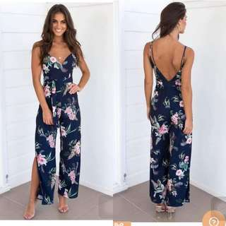Floral Blue Slit Jumpsuit