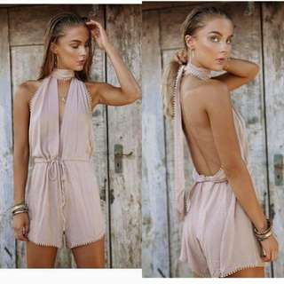 Backless Old Salmon Romper