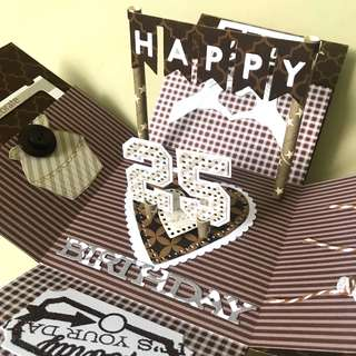 Happy 25 Birthday Explosion Box Card in brown theme