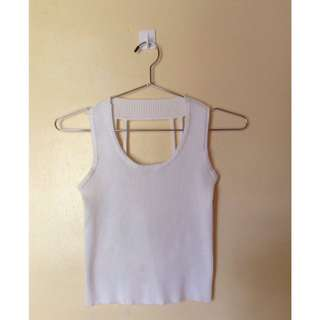 White Round Neck Crop Top