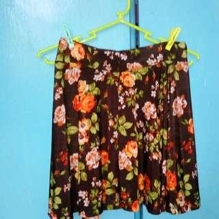 Brown Printed Mini Skirt