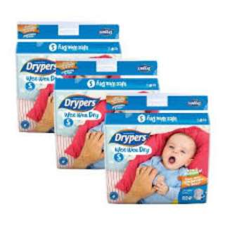 BRAND NEW FREE DELIVERY - Drypers Wee Wee Dry S 82s x 3 packs (3 - 7kg) 246pcs/box