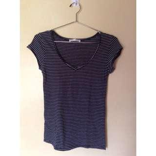 Zara Striped V Neck Shirt