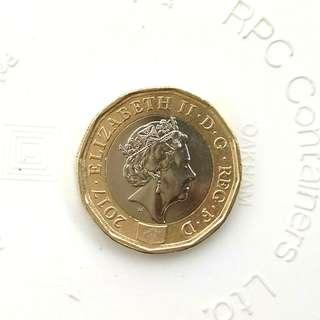 英國硬幣金銀色1鎊