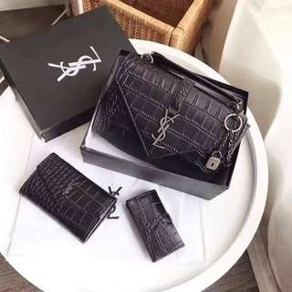 YSL COLLEGE BAG & WALLET BLACK CROCODILE EMBOSSED LEATHER