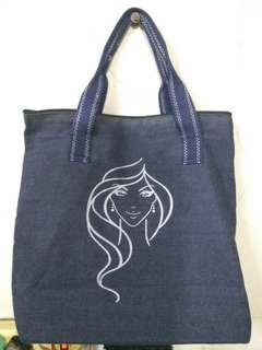 sale!!! denim totte tas wanita logo