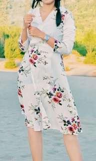 Wrap maxi flower dress (white)