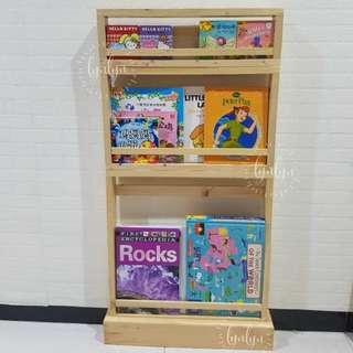 Rak buku anak kayu wooden bookcase custom montessori